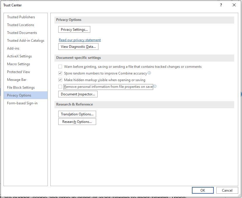 Microsoft Trust center menu